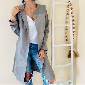 NWT Calvin Klein Grey Long Duster Jacket